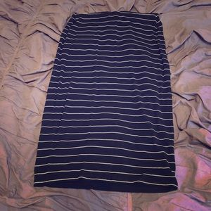 Old Navy Black with White Stripes Midi Skirt Small